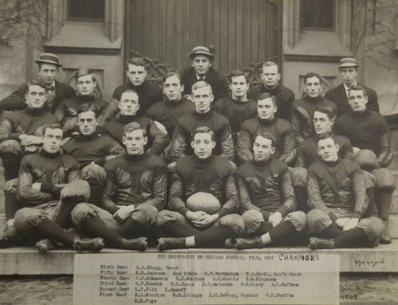 Coach Stagg and the 1907 University of Chicago Football Team.