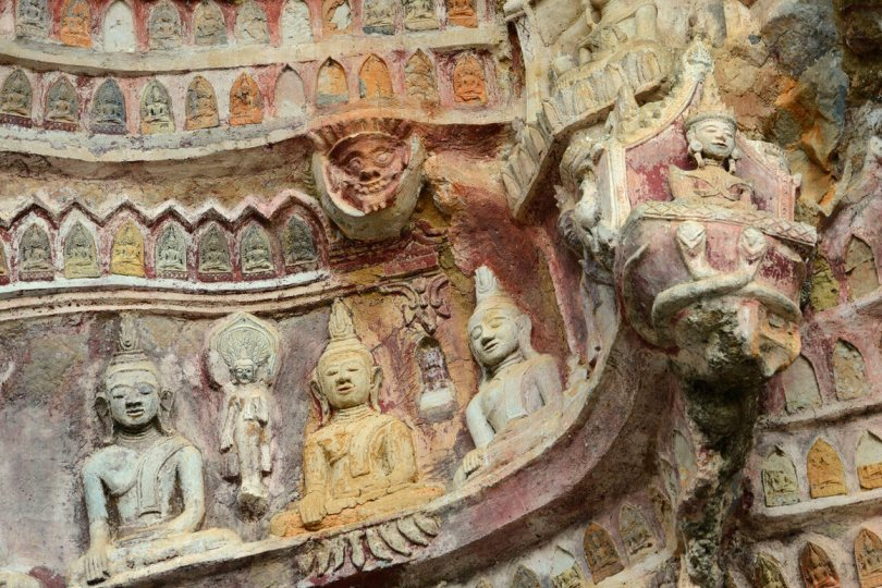 The cave holds many different styles of Buddhist art, spanning centuries.