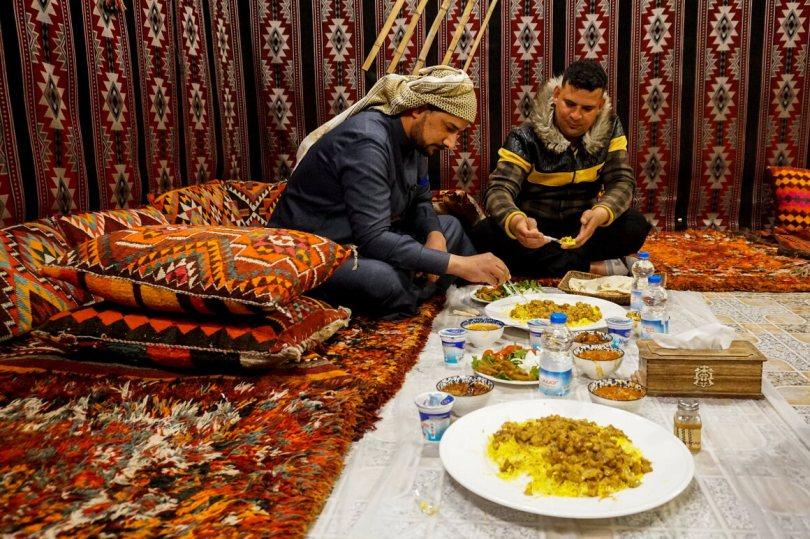 Dining on truffles at the restaurant Beit al-Hatab, in Samawa, Iraq.
