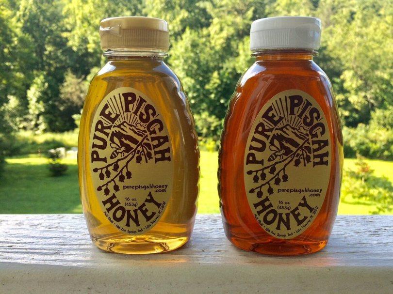 Mike Elliott's sourwood honey and wildflower honey.