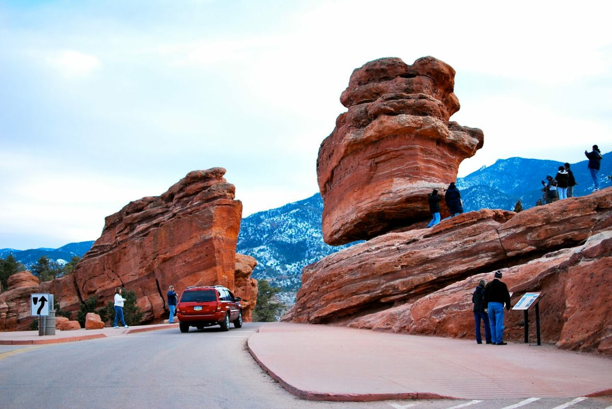 Despite appearances, it is safe to drive by Balanced Rock in Colorado Springs.