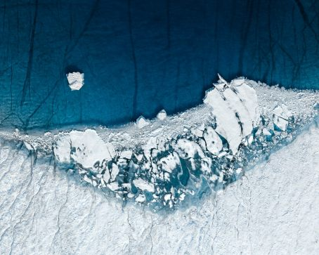 Greenland's melting ice from above.