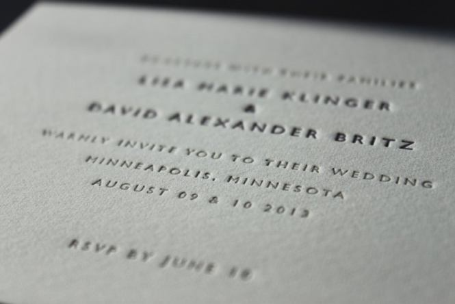 Letterpress Wedding Invitations Classic Design Available In 2 Sizes