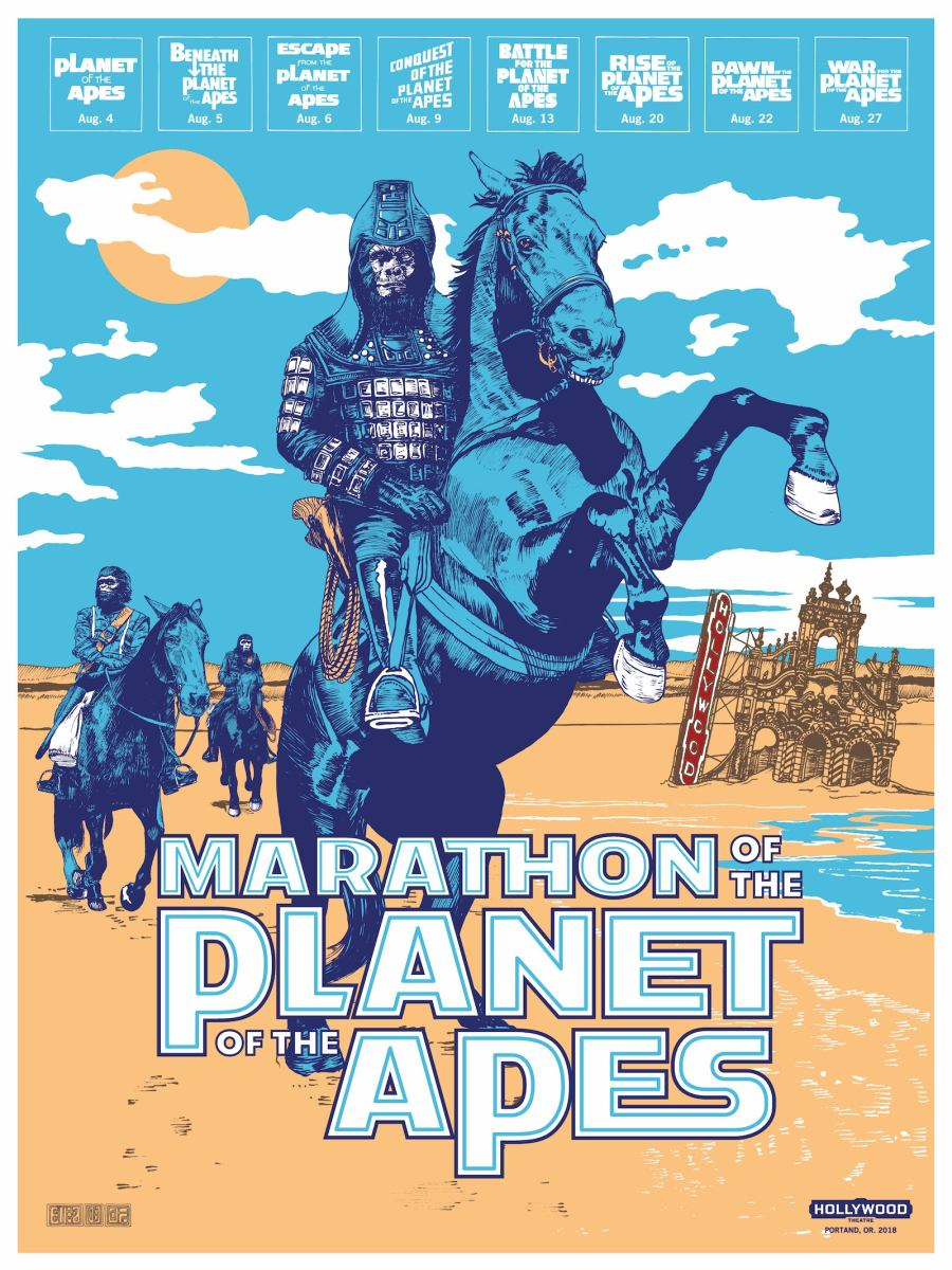 Marathon Of The Apes Screen Printed Poster Hollywood