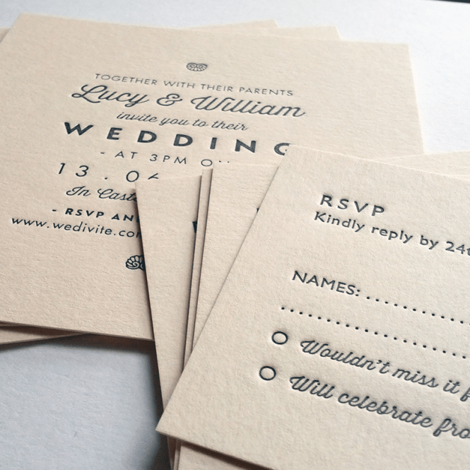 Sample Wedding Invitations Letterpress Printed