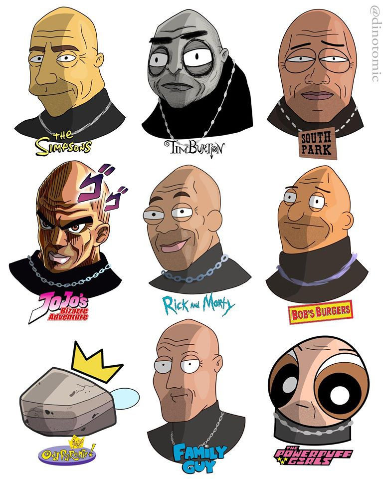 Image of #182 The Rock in many styles