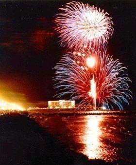 Fireworks at the former Flagship Hotel.