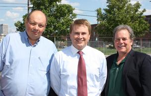 Pat Caudill, left, is pictured with Kentucky Agriculture Commissioner James Comer and Dan Caudill. The Caudill brothers are co-owners of Caudill Seed Co.