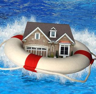 House life preserver under water