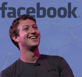 Facebook logo and CEO Mark Zuckerberg.