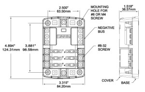 ST Blade Fuse Block  6 Circuits with Negative Bus and