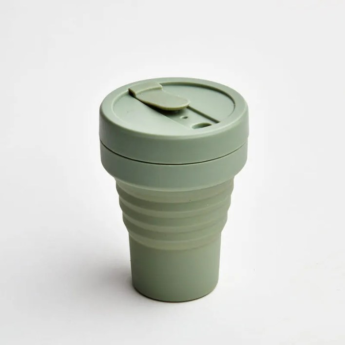 Sage green collapsible reusable coffee cup