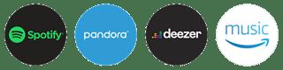 Spotify, Pandora, Deezer, Amazon