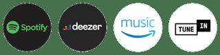 Spotify, Deezer, Amazon Music, TuneIn