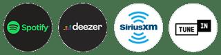 Spotify, Deezer, SiriusXM, TuneIn
