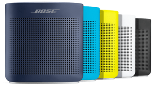 SoundLink Color II speaker shown in Midnight Blue, Aquatic Blue, Yellow Citron, Polar White, and Soft Black
