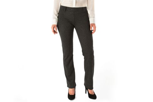Straight-Leg Glen-Plaid Dress Pant Yoga Pants. Also available in solid black, pinstripes, herringbone, navy, and more.