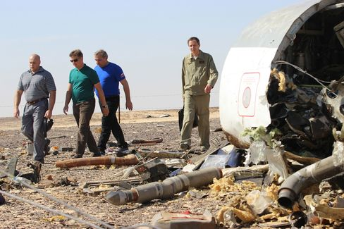 Russian Minister of Emergency Situations Vladimir Puchkov inspects the crash site on Nov. 01, 2015.
