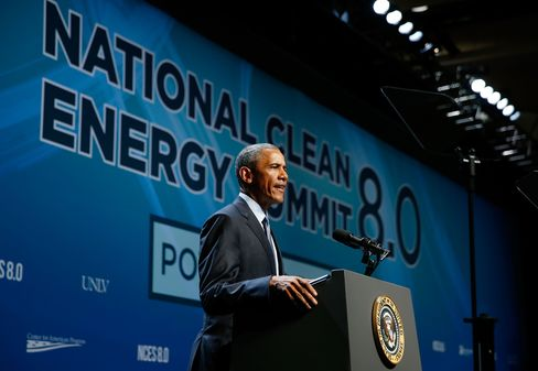 Barack Obama delivers a speech during the National Clean Energy Summit 8.0 in Las Vegas on Monday.