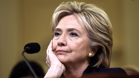 Former Secretary of State Hillary Clinton waits to testify before the House Select Committee on Benghazi on Capitol Hill in Washington on Oct. 22, 2015.