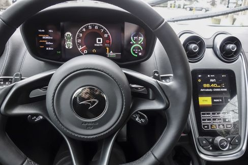 The dashboard of the 570S is clean, practical, with the few buttons and round knobs all oriented toward the driver—and it's the first McLaren with a vanity mirror. Interior upgrade packages available for $2,990.