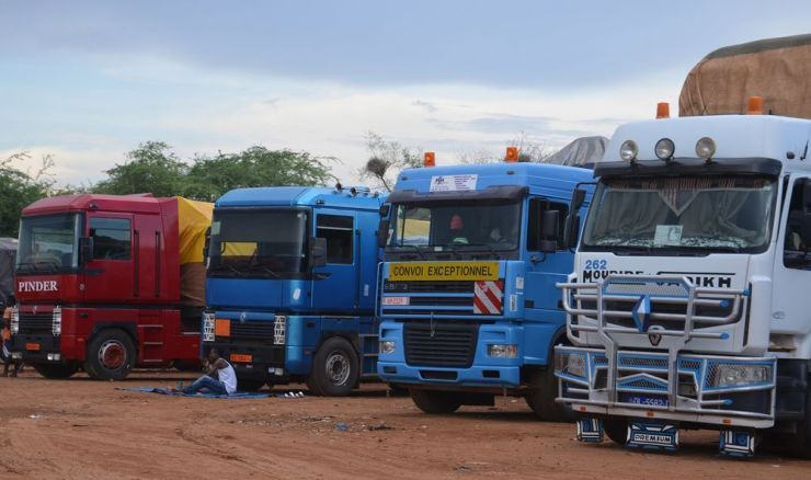 Trucks parked at Nigeria's closed border with Niger.