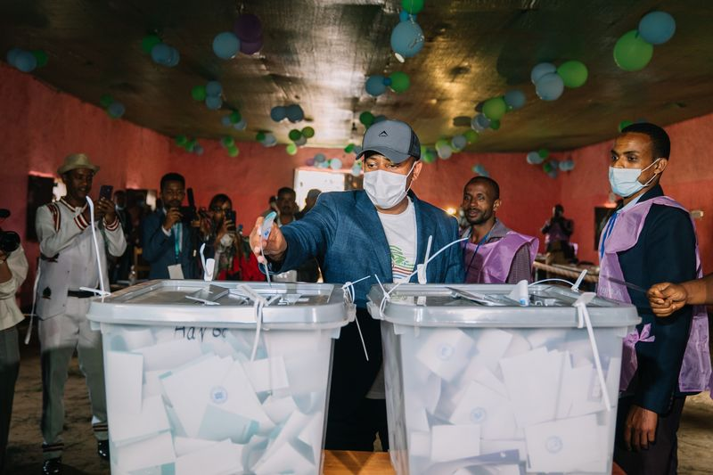 Abiy Ahmed casts his vote in the country's national election on June 21.