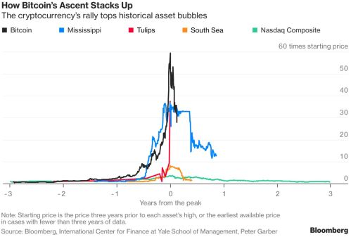Chart of Bitcoin vs other historical asset price bubbles