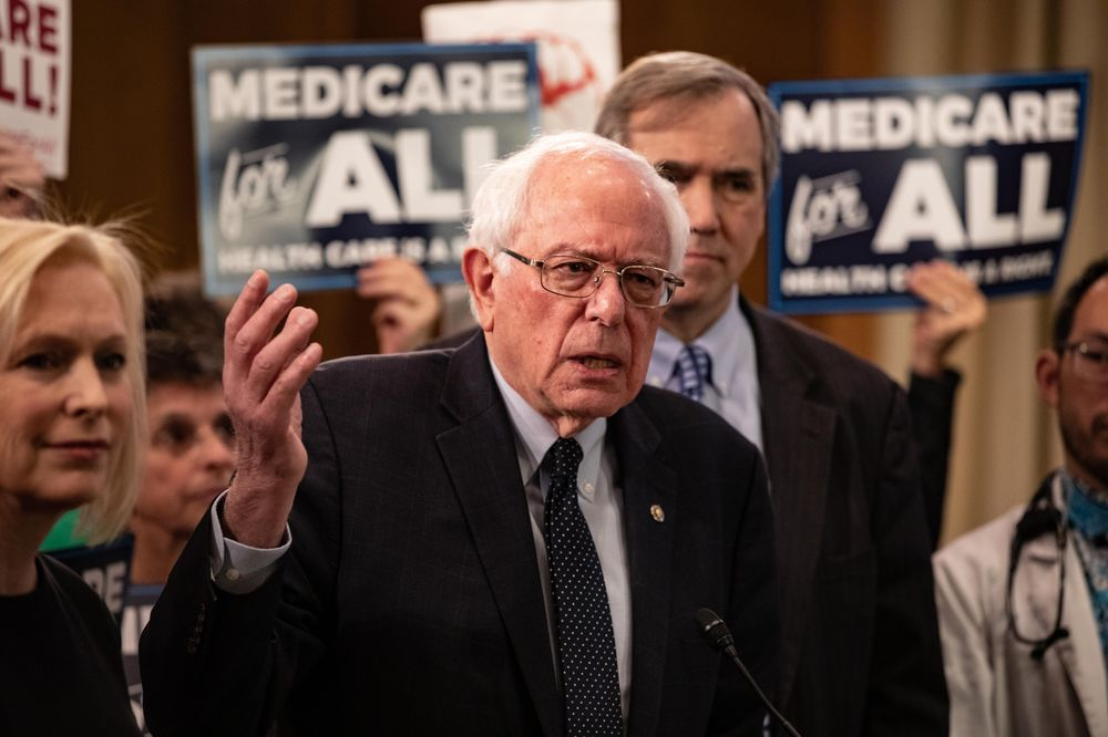 Senator Bernie Sanders, an Independent from Vermont, speaks during a press conference introducing the Medicare for All Act of 2019 in Washington, D.C.on April 10, 2019.