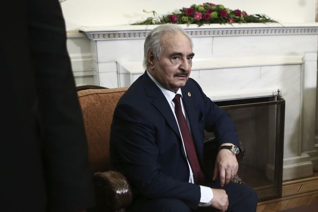 Field Marshal Khalifa Haftar, leader of the Libyan National Army (LNA) during his meeting with Greek Foreign Ministrer at the ministry of foreign affairs, in Athens, Greece, on January 17, 2020