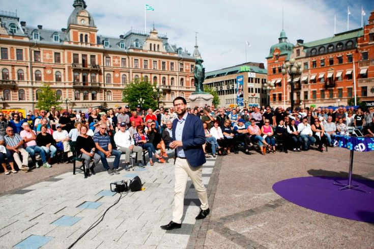 Party leader Jimmie Akesson of the Sweden Democrats campaigns in Sundsvall, on Aug. 17.