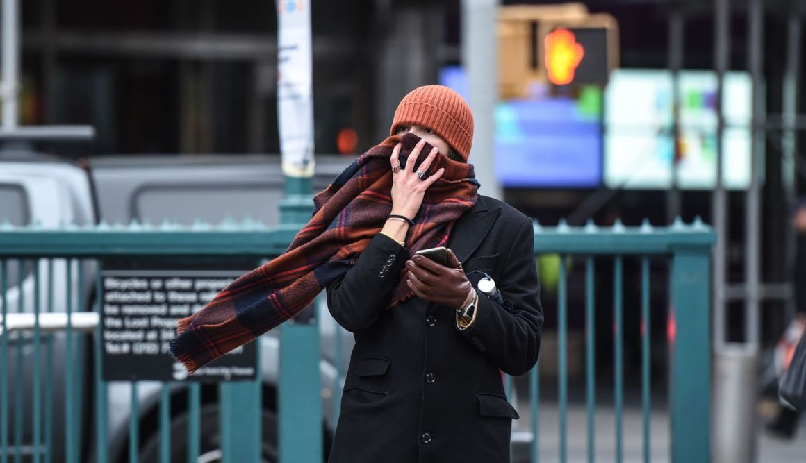 A person bundles up against the cold in New York on Nov. 12.