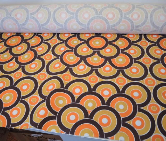 Roll Of Fabric Retro Vintage Typical 70s Pattern