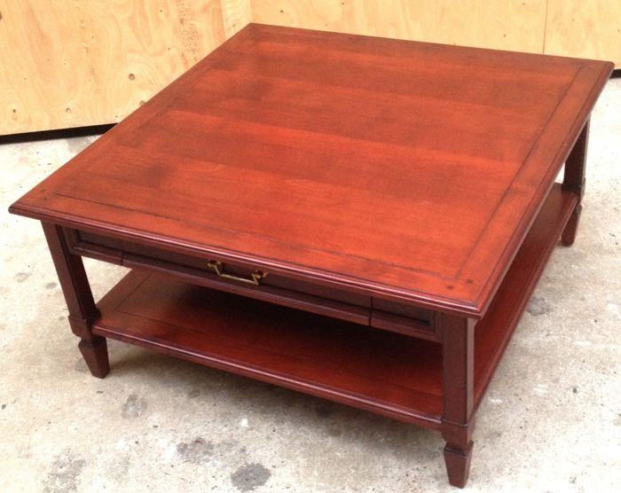 cherry wood square coffee table with
