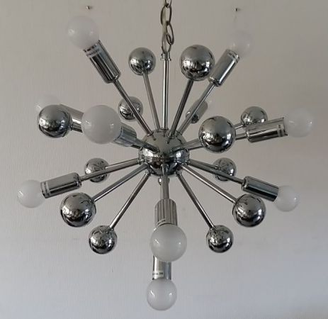 Designer unknown   Very beautiful chrome coloured Sputnik ceiling     Designer unknown   Very beautiful chrome coloured Sputnik ceiling light
