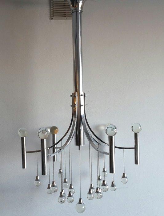 Lampadario gaetano sciolari anni 70 acciaio 6 luci. Gaetano Sciolari Attri Lampadario Design Sfere Catawiki