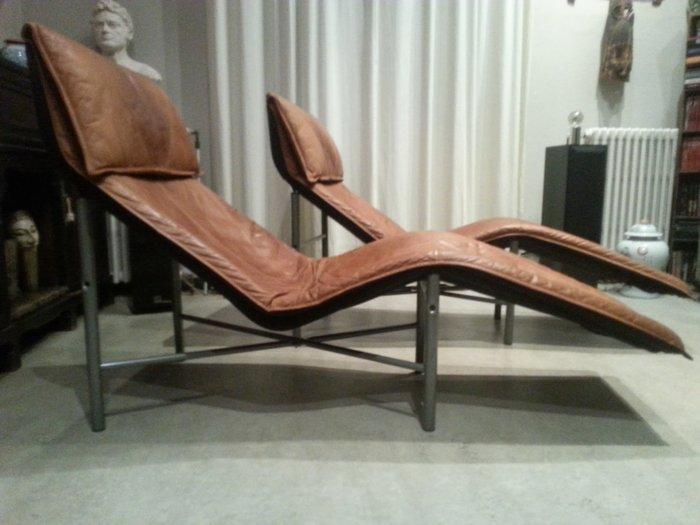 Retro Tan Leather Sky Lounge Chair Tord Bjorklund Björklund