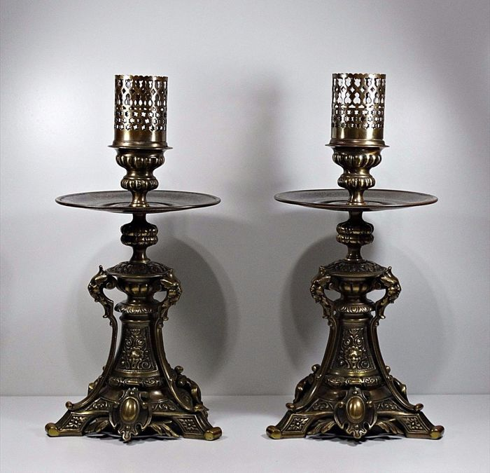 Antique 1900´s Pair Candle Holders Ornament Solid Bronze ... on Antique Style Candle Holder Sconces id=18696