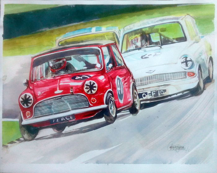 James Martin   1963 Austin Mini Cooper S Race Cars   Original     James Martin   1963 Austin Mini Cooper S Race Cars   Original Watercolour    40 x
