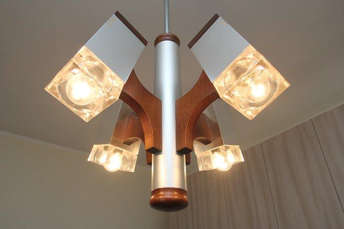 Lampadario marca veca in acciaio cromato e cristallo fumé / veca chandelier lampadario. Unknown Designer Lampadario In Acciaio Legno E Vetro Catawiki