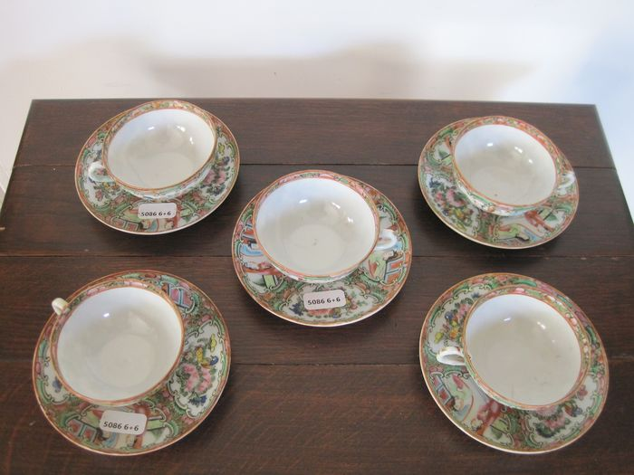 Saucers, Tea cups (5) - Canton, Famille rose - Porcelain - China - 19th century - Catawiki
