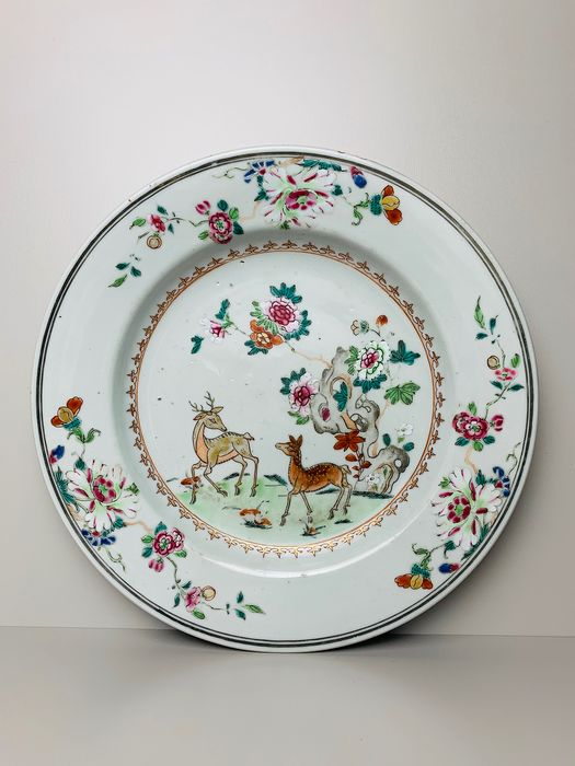 Famille Rose Deer plate - Porcelain - China - Qianlong (1736-1795) - Catawiki