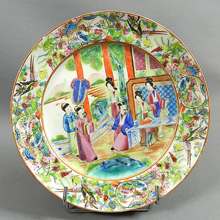 Plate - Canton, Famille rose - Porcelain - China - mid 19th century - Catawiki