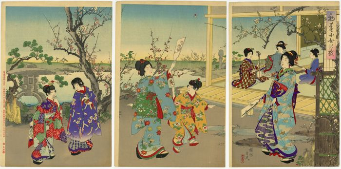 "Original woodblock print, Triptych - Toyohara Yoshu Chikanobu (1838-1912) - ""Shoshun shojo no ajare"" 初春小女の戯 (Young Women's Leisure Activities in Early Spring) - Japan - 1891"