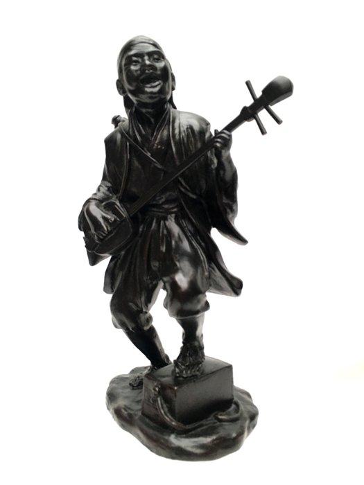 Sculpture - Patinated bronze - Shamisen player - Marked [Genryusai] 'Seiya saku' 誠谷作 - Japan - 1900 (Meiji period) - Catawiki