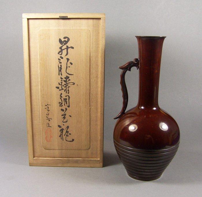 Vase - Bronze - Dragon - A high-quality bronze 'ikebana' vase for the tea ceremony - With mark 'Koshun' 宏春 - Japan - ca. 1960-70s (Showa period) - Catawiki