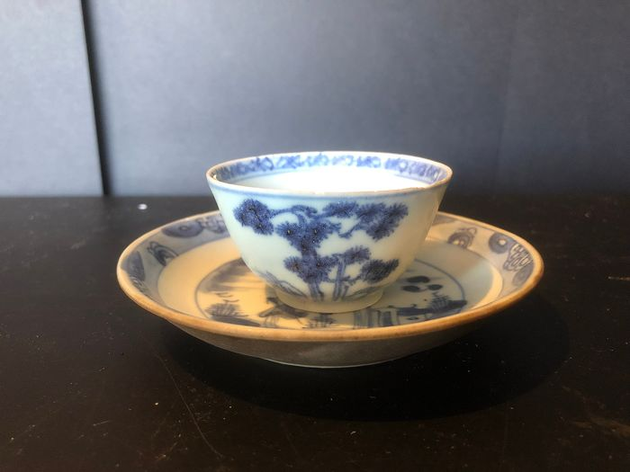 Cup and saucer - Blue and white - Porcelain - nanking Cargo - China - Qianlong (1736-1795) - Catawiki
