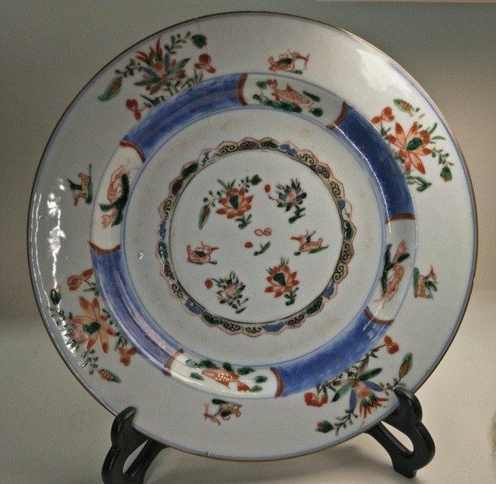 Plate (1) - Porcelain - Lotus flower - Mandarin duck - China - Kangxi (1662-1722) - Catawiki