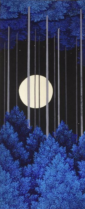 Original woodblock print, Published by Unsodo - Teruhide Kato (1936-2015) - Full moon - Japan - Heisei period (1989-2019)