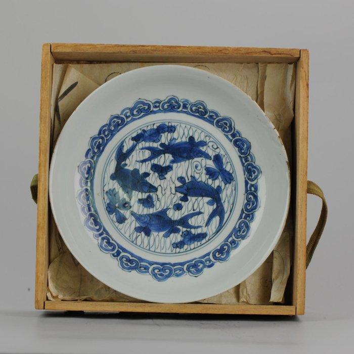 Plate - Porcelain - Ming Wanli 16/17c Fish Plate/ Carp - China - 17th century - Catawiki